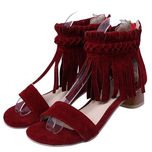 for Black Fall Red Heel Chunky Zipper B Spring Tassel Sandals Shoes Nubuck Leather Women's 7vS4Bn