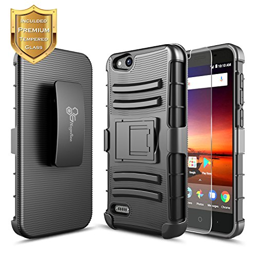 ZTE Blade Vantage Case(N837/Z839), ZTE Avid 4 Case, ZTE Tempo X Case(N9137) with FREE [Tempered Glass Screen Protector], NageBee [Heavy Duty] Shock Proof [Belt Clip] Holster [Kickstand] Case (Black) from NageBee