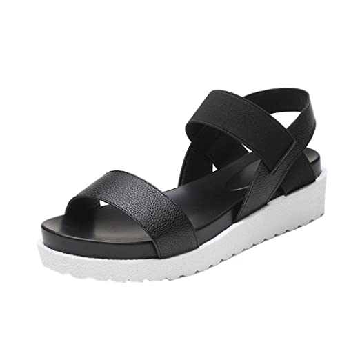 fdc61106d2f1 YANG-YI Clearance Women Sandals Summer Leather Flat Sandals Solid Shoes ( Black