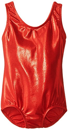 - Danskin Little Girls' Gymnastics Solid Sparkle Leotard,Red,Small (4/6)