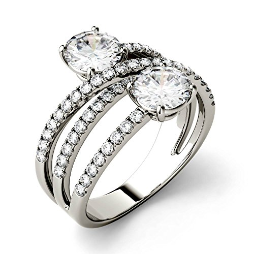 Forever Brilliant Round 6.0mm Moissanite Two Stone Ring, 2.15cttw DEW By Charles & Colvard