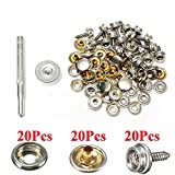 Pukido 20Set Stainless Steel 5/8 Inch Boat Cover Canopy Fittings Fastener Snap Kit with Tools