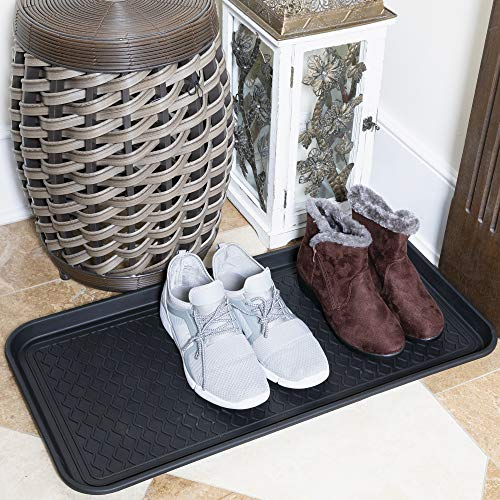 """Sweethome Boot Tray Indoor/Outdoor, 30"""" X 15"""", Black, Black Square"""