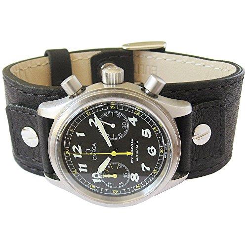 (Eulit Cuff 24mm Black Riveted Buffalo-Grain Leather Watch Strap)