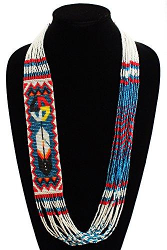 NE146526 Fine Art Glass Hand Beaded Medicine Wheel Feather Necklace Crystal Blue … from Sanyork Fair Trade