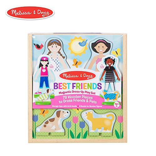 Melissa Doug Girl Dress - Melissa & Doug Best Friends Magnetic Dress-Up Wooden Dolls Pretend Play Set (78 pcs)