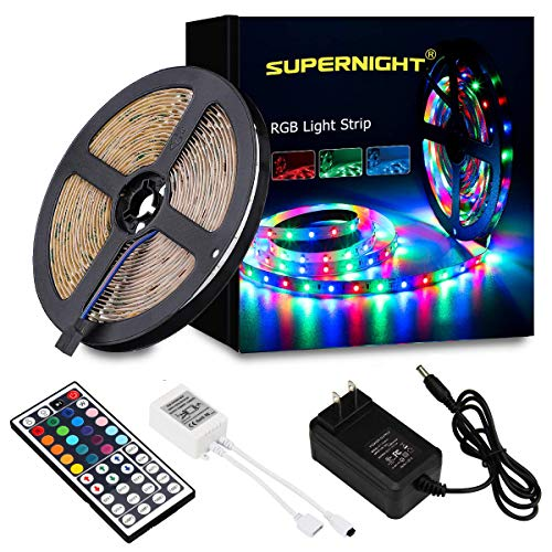 SUPERNIGHT 5M/16.4 Ft SMD 3528 RGB 300 LED Color Changing Kit with Flexible Strip Light+44 Key IR Remote Control+ Power Supply ()