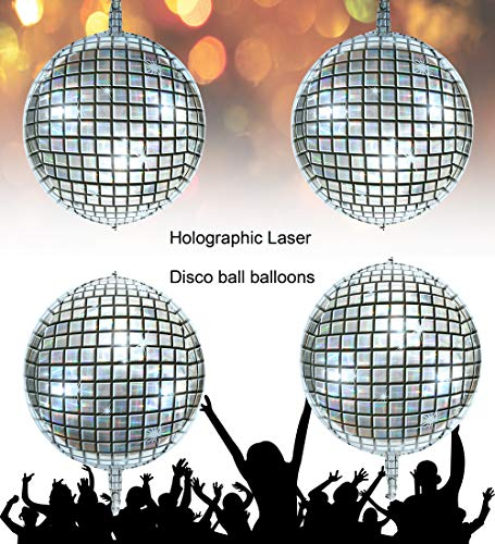 Holographic Silver Laser Disco Ball Balloon Hangable 4 Count 16