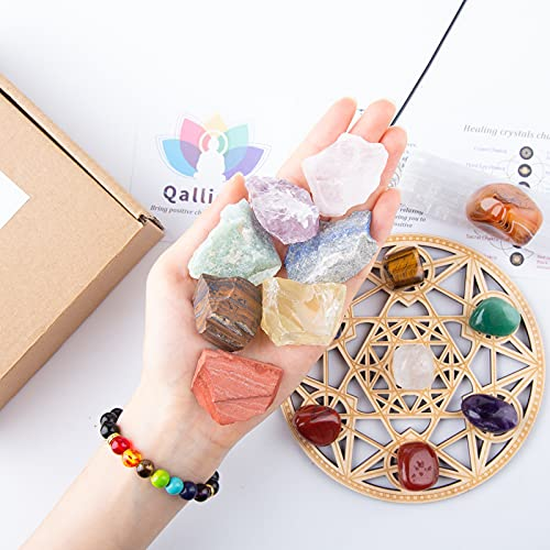 Qallicon Crystals and Healing Stones, 20PCS Healing Crystal Include 7 Raw & Tumbled Chakra Stones, Lava Bracelet, Selenite, Cage Necklace, Palo Santo, Banded Agate, Crystal Grid for Meditation, Yoga.