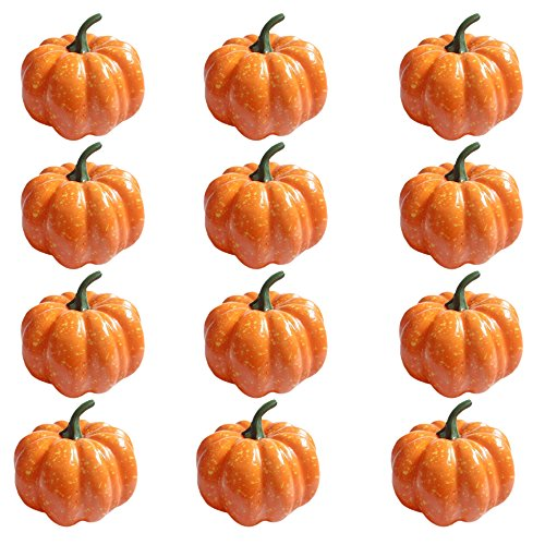 "HKBAYI 12PCS 3"" 80mm Halloween Artificial Fake Pumpkins Fake Vegetables Ornaments Decor Party Home Decorations"