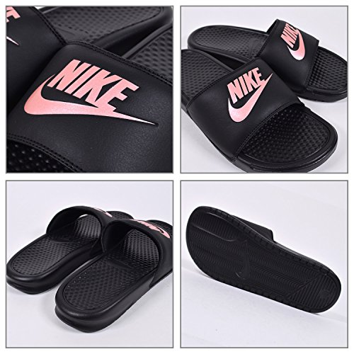 Nike Donna Benassi Jdi Sandalo Nero / Oro Rosa