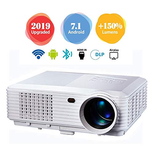 HD Video Projector with Built-in Android System LED HD Projection, Suitable for Video TV Movies, Party Games, Outdoor Entertainment with HDMI USB AV Interface and Remote Control,White