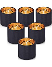 """Wellmet Lampshades,Small Chandelier Shades ONLY for Candle Bulbs,Clip-on Drum Lampshades,Set of 6, 5.5""""x 5.5""""x5"""",Black Gold"""