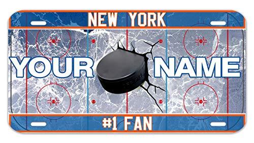 "Bleu Reign Personalized Custom Name Hockey Team New York Orange 12""x18"" Ultra Absorbent Pet Feeding Mat"