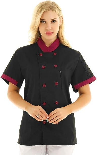 Freebily Unisexo Camisa de Cocineros Camareros Chef Uniforme Mandarin de Trabajo Cocina Hotel Restaurante Chaqueta Llaboral Profesional Mangas Cortas Doble Pecho: Amazon.es: Ropa y accesorios