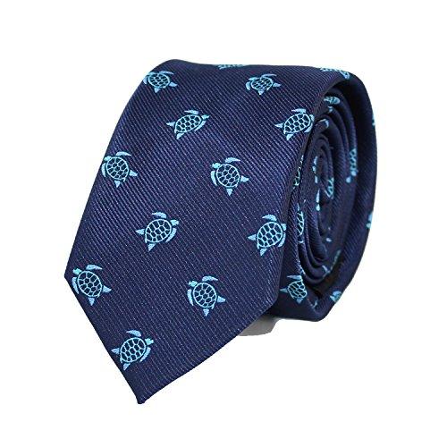 MENDEPOT Microfiber Jacquard Sea Turtle Pattern Necktie Blue Tortoise Animal Necktie