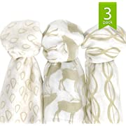 Bamboo Muslin Swaddle Blankets Large (47 x47 ), Super Soft Breathable Bamboo Muslin (3 Pack), Woodland Collection, Gender Neutral