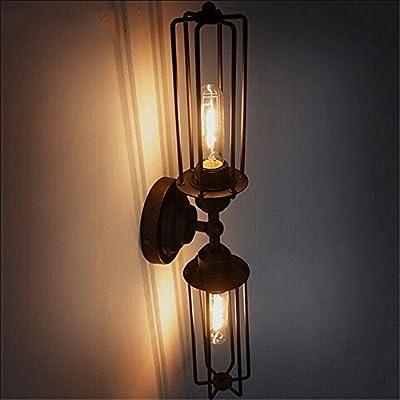 NAVIMC Black Antique Wrought Iron Wall Sconces Light Bedside Wall Lamp Decor Lighting Fixture(C)