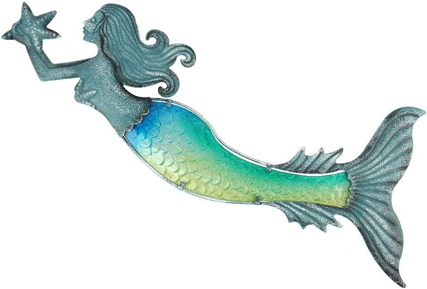 Liffy Metal Mermaid Wall Art Outdoor Hanging Glass Decor Blue Decorative Sculpture for Patio, Pool or Bathroom