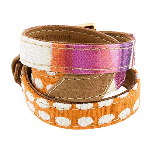 LALÉ Woman wrap Genuine Leather Bracelet, Twists Three Times Around The Wrist | Ironwork Plated in Gold Buckle for Closure | Adjustable Size. Handmade Jewelry (Orange Dots, 7.5)