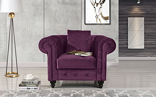 Classic Scroll Arm Large Velvet Living Room Chesterfield Accent Chair (Purple)