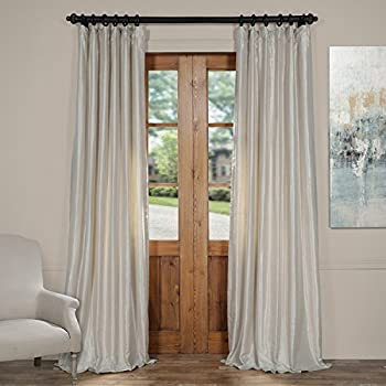 Half Price Drapes PDCH-KBS21-84 Vintage Textured Faux Dupioni Silk Curtain, 50 x 84,  Mist Grey