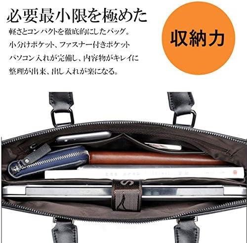 ビジネスバッグ 本革 メンズ 大容量 軽量 おしゃれ PC対応 ブリーフケース ビジネス 自立式 撥水 pu レザー ショルダーバッグ 2WAY 肩掛け 手提げ 鞄 就活 通勤 仕事用