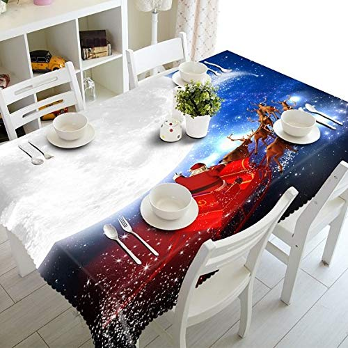 Christmas Bells Pattern Custom 3D Tablecloth Dustproof Thick Polyester Cotton Wedding Hotel Party Long Table Cloth Home Textile  Color 6 B07SCK8Y48