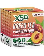 Green Tea X50 Green Tea and Resveratrol Peach Energy Drink Powder 60 Sachets, Antioxidants, Natural Fat Burner,, Peach 180 grams