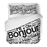 SanChic Duvet Cover Set Bonjour Hello Greeting in French Word Cloud Different Languages Decorative Bedding Set with Pillow Sham Twin Size