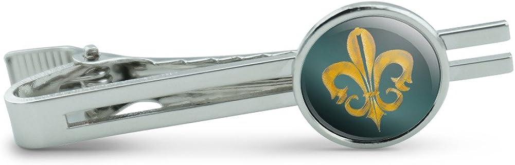 Fleur de lis Rustic Gold on Teal Men's Tie Clip Tack Bar
