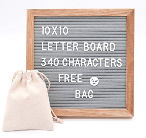 - 10 X 10 Premium Changeable Felt Letter Board, Solid Oak Frame, 340 White Letters with Characters & Wall Hook. (Gray)