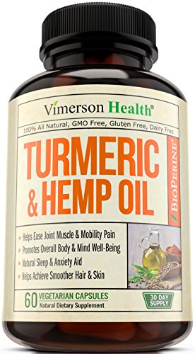 Turmeric Curcumin with Hemp Oil Powder & Bioperine – Joint Pain Relief, Anti Inflammatory & Anti Anxiety – Stress & Sleep Support Supplement with 95% Curcuminoids & Black Pepper – 60 Capsules.
