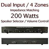 Power Audio 4-Zone Dual Source 200 Watt Impedance Matching Speaker Selector with Volume Control (Black)