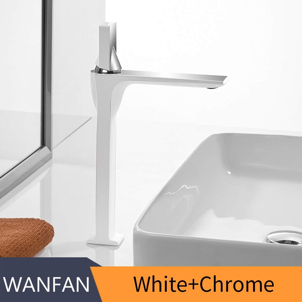 White and Chrome GeWu888 Retro Basin Bathroom Sink Faucet Single Handle Hole Deck Hot and Cold Faucet Crane Chrome