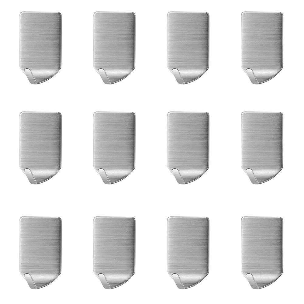 Badezimmer Wandhaken Edelstahl Haken ohne Bohren Kleiderhaken f/ür Bad und K/üche Aikzik/®12 Stk Selbstklebend Handtuchhaken