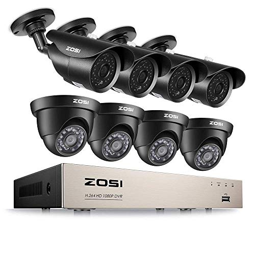 ZOSI 8CH 1080P Security Camera System HD-TVI Video DVR Recorder with (8) 2.0MP Bullet and Dome Weatherproof CCTV Cameras Motion Alert, Smartphone, PC Remote Access (Certified Refurbished) -  8FN-231X418B4-00-CR