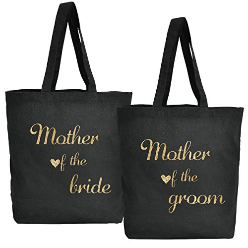 Elegantpark Bride to Be Handmade Einkauftstasche Hochzeit Braute Schwarz Canvas Schultertasche Tasche 100% Baumwollen mit Gold Skript 1 Stück Mother of the bride+Mothe of the groom 7SThxOMt7M