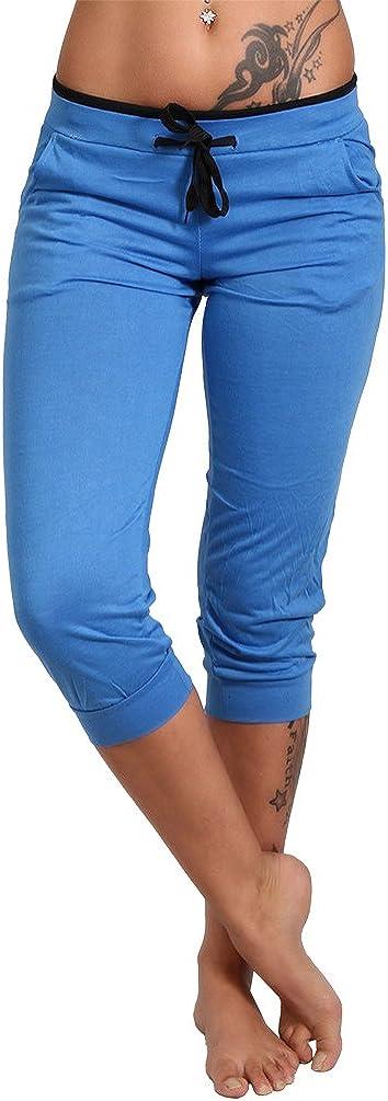 Pantaloni Capri da jogging leggeri a 3//4 con fascia colorata P-NK-3756