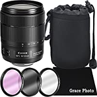 Canon EF-S 18-135mm f/3.5-5.6 Image Stabilization USM (Black) Zoom Lens Bundle for Canon DSLR Cameras (White Box)