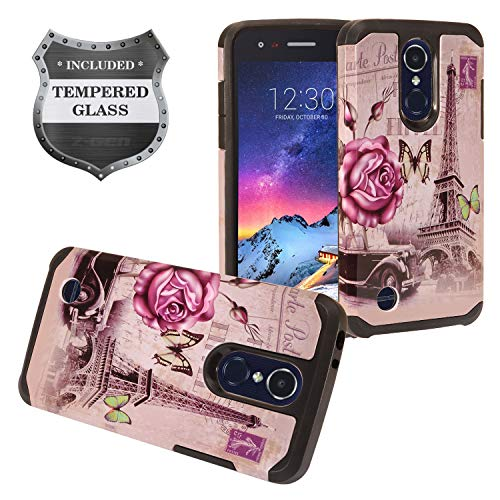 LG Tribute Empire/Dynasty, Aristo 3/2 /2 Plus, Phoenix 4, Fortune 2, Risio 3, Zone 4, Rebel 4, LG K8S 2019/K8+ - Hybrid Image Hard Case + Tempered Glass Screen Protector - AD1 Eiffel Tower - Hybrid Case Hard
