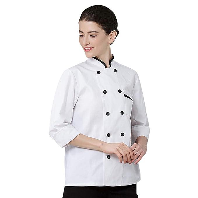 Dooxii Unisex Donna Uomo Autunno Manica Lunga Giacca da Chef Professionale  Torta di Cottura Hotel Mensa Uniformi Divise da Cuoco  Amazon.it   Abbigliamento e4b74368e014