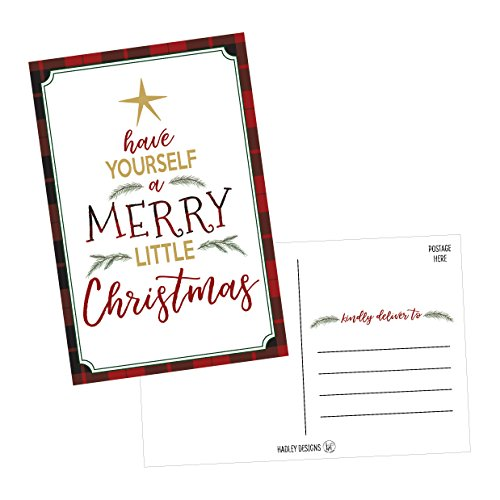 50 Tree Holiday Greeting Cards, Cute & Fancy Blank Winter Christmas Postcard Set, Bulk Pack of Premium Seasons Greetings Note, Happy New Years Cards for Kids, Business Office or Church Thank You Notes