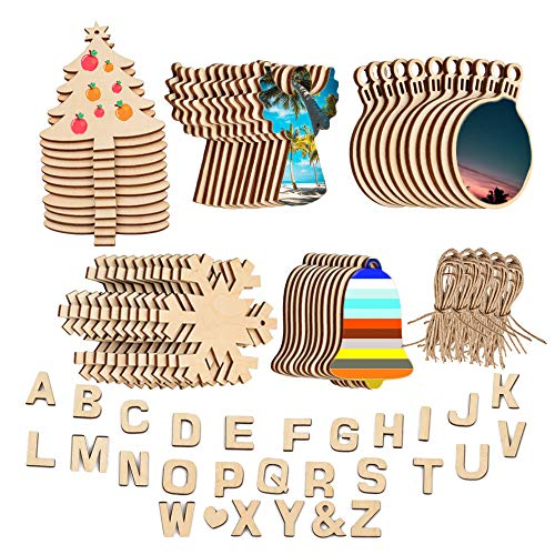 Natural Unfinished Wood Slices for Craft, DIY Wood Ornaments for Xmas Tree Decoration Hanging Predrilled with Hole Twine String, Blank Wooden Pieces Adhesive Alphabet Wood Letters for Painting (Ornaments Alphabet Christmas Letter)