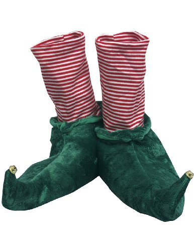 Elf Holiday Christmas Slippers - Jingle Bell Tips & Candy Cane Stripes (Adult Candy Stripe)