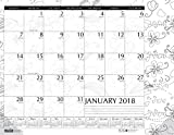 House of Doolittle 2018 Monthly Desk Pad Calendar, Doodle Black and White, 22 x 17 Inches, January - December (HOD187-18)