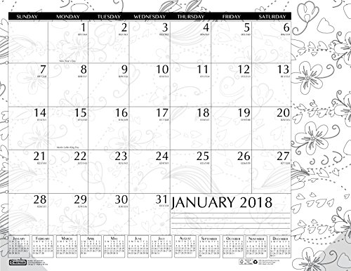 House of Doolittle 2018 Monthly Desk Pad Calendar, Doodle Black and White, 22 x 17 Inches, January - December (HOD187-18) (Desk White Monthly And Black)