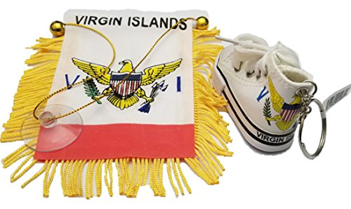 BUNFIREs 2pc St Thomas US Virging Islands flag, Jamaican flag mini banner w/Mini canverse shoe shoes - Fringed Islands Virgin
