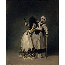'Goya y Lucientes Francisco de La duquesa de Alba y su duena 1795 ' oil painting, 30 x 36 inch / 76 x 93 cm ,printed on Perfect effect canvas ,this High Definition Art Decorative Prints on Canvas is perfectly suitalbe for Basement decor and Home decoration and Gifts