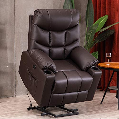 B BAIJIAWEI Electric Power Recliner Chair – Power Lift Gray Recliner Sofa with Vibration Massage Heat Function, Recliner Chair with Remote Control and Cup Holder, USB Port, 2 Side Pockets